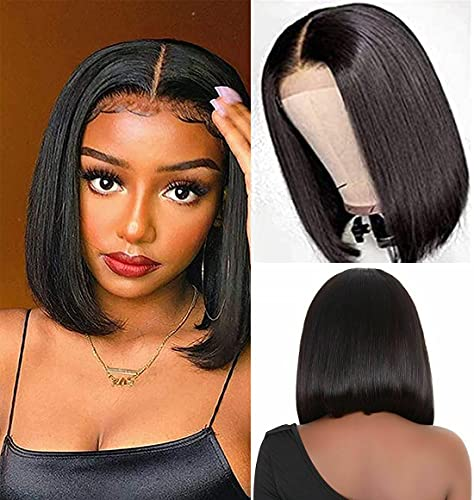 12 Inch Short Bob Wigs Human Hair Lace Closure Wigs 10A Brazilian Virgin Human Hair Straight Bob lace Front Wigs For Black Women Pre Plucked with Baby Hair 4X1 Lace Frontal Wigs Natural Black
