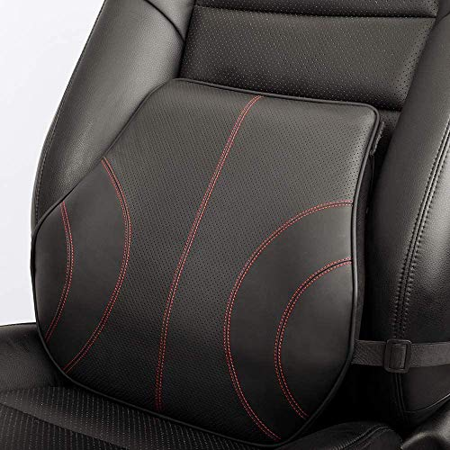 KOYOSO Car Lumbar Support Cushion, Back Support Pillow Leather Memory Foam for Car Home Office - Black