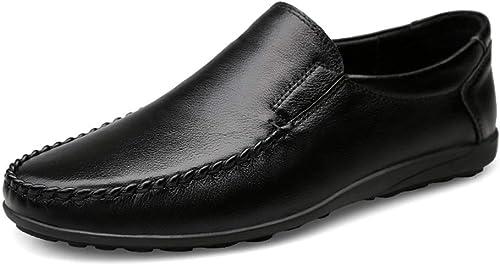 XHD-Chaussures Confortable Homme Mocassins à Talon Plat Couleur Unie Unie Confort Doux Style Britannique en Cuir Véritable Slip sur Mocassins Chaussures (Couleur   Noir, Taille   37 EU)  haute qualité générale