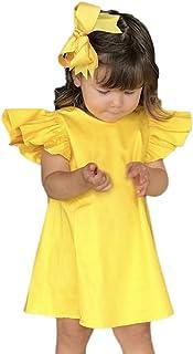 女の子のドレス、Tichan 夏の赤ちゃんの女の子は、袖の固体弓のドレスの服パーティーのウェディングドレスを飛びます