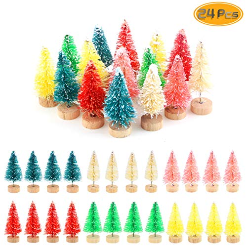 Etmact 24pcs Multicolor Mini Pine Trees Frosted Sisal Trees with Wood Base Bottle Brush Trees Plastic Winter Snow Ornaments Tabletop Trees for Crafting, Displaying and Decoration