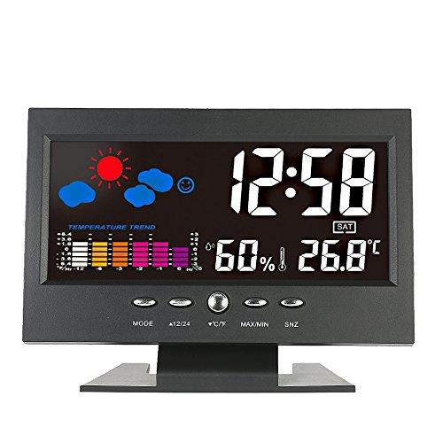 KKmoon ° C / ° F Lcd DigitalMedidor de Humedad de TemperaturaReloj Tendencia Del Calendario Alarma Nivel Comodidad Pronóstico Del Tiempo Activado Por Vioce Iluminar Desde El Fondo Interior