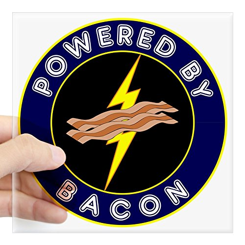 CafePress Powered by Bacon Lightning Square Sticker 3 X 3 Square Bumper Sticker Car Decal, 3'x3' (Small) or 5'x5' (Large)