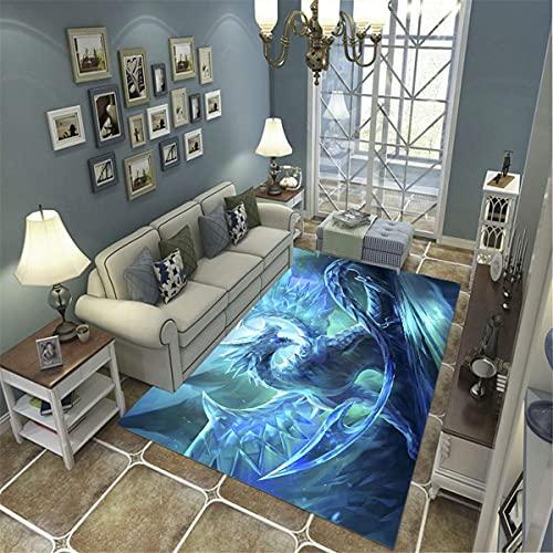 xuyuandass Tapis De Zone, Tapis 3D Congelé Dragon De Glace Volant Imprimé Décor À La Maison Antidérapant Doux 60X100Cm, Tapis pour Chambre d