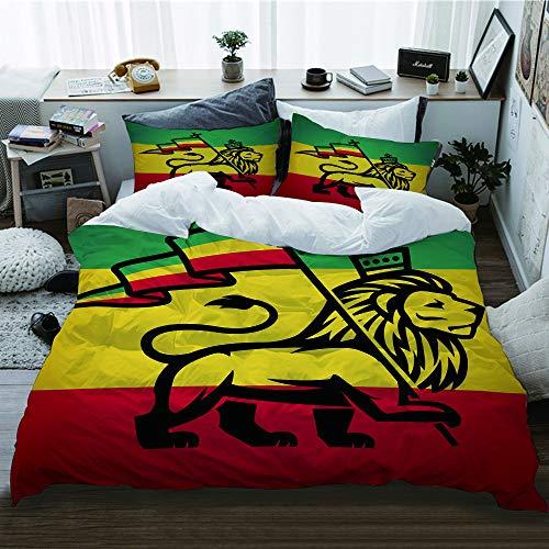 HATESAH Funda De Edredón,Lámina artística Judah Lion with Rastafari Flag King Jungle Reggae Theme,3 Pcs Ropa de Cama Funda Nórdica Sábana Bajera (140 * 200CM)
