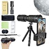 WHXJ 4k 10-300x40mm Super-Telezoom-Monokular-Teleskop, Monokular-Teleskope, Monokular-Teleskop mit Telefonhalter und Stativ, BAK4-Prismenlinsen-Design, Für Reisen, Vogelbeobach