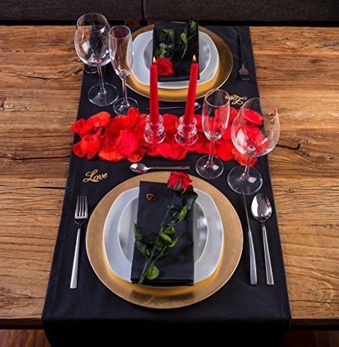 LOVERSpack Romantic Pack Hathor Negro/Dorado - con Este Pack romántico podrás Decorar tu Mesa y sorprender a tu Pareja con una Cena romántica en casa o en un Hotel. ¡Regala Momentos Especiales!