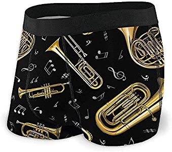 Web--ster Calzoncillos Boxer para Hombre Pantalones Cortos Trombón Música Instrumentos Musicales Ropa Interior Suave Calzoncillos de Novedad gráfica