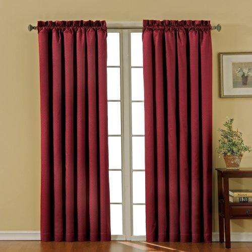 "ECLIPSE Blackout Curtains for Bedroom-Canova 42"" x 95"" Insulated Darkening Single Panel-Rod Pocket Window Treatment Living Room, Burgundy"