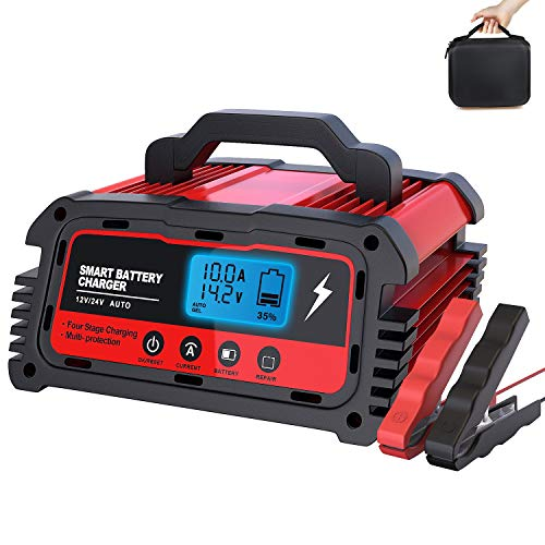 LEICESTERCN Car Battery Charger Automotive 12V 24V Automatic Smart Maintainer 5A/10A/20A Repair Charger with LCD Display for Motorcycle Automobile Riding Lawn Mower Tractor Snowmobile Marine Boat