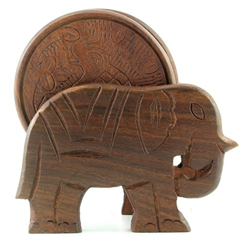 Elephant Design Wooden Coasters With Holder - set of 6, Handcrafted in India. Great Gifts For Any Occasion, Birthdays, Holidays, Housewarming, Business, Fathers Day and Mothers Day.