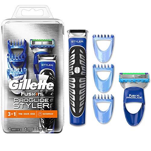 Gillette Styler Rasierer Herren mit Trimmerklinge für Präzision und Gleitbeschichtung, Barttrimmer + Rasierklinge + 3 Kammaufsätze