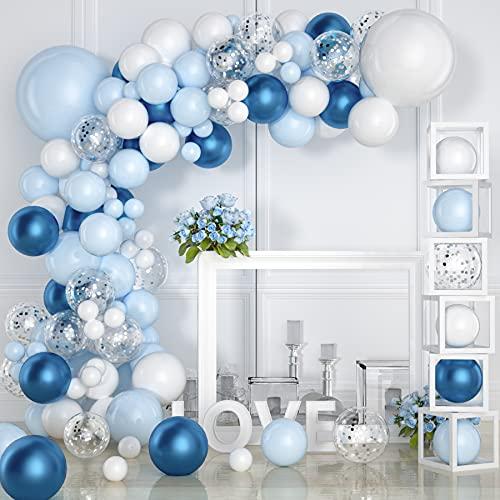 VAINECHAY 104 Pezzi Garland Kit Balloon Arch Garland, Blu e Bianco Balloon Arch Garland Kit per Decorazioni per Feste di Compleanno Baby Shower Blue e White