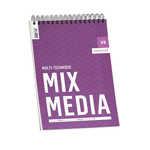 Römerturm Mix-Media-Block, DIN A4, 300 g/m², weiß, leicht rau, spiralgebunden, 25 Blatt