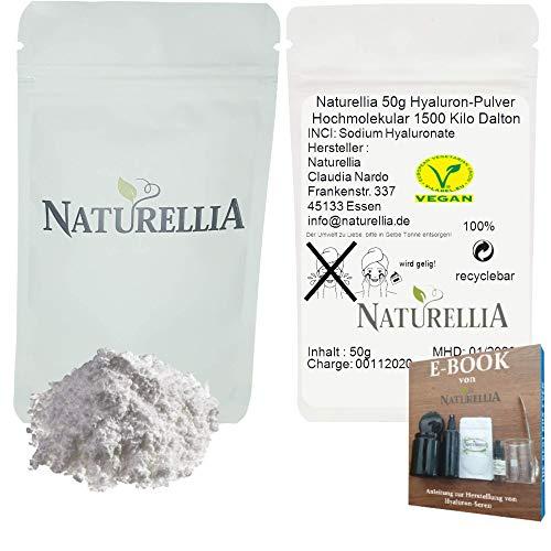 Naturellia 50g Ácido Hialurónico Vegano en Polvo Puro de Alta Molécula Altamente Dosificado Adecuado para la Elaboración de Cremas Cosméticas DIY