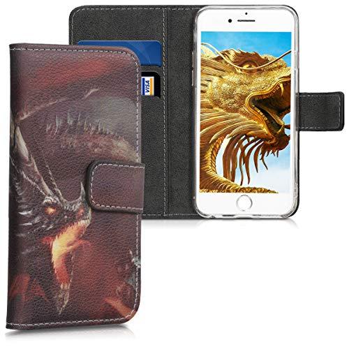 kwmobile Funda para Apple iPhone 6 / 6S - Carcasa de Cuero sintético con diseño de dragón épico - Case con Tarjetero