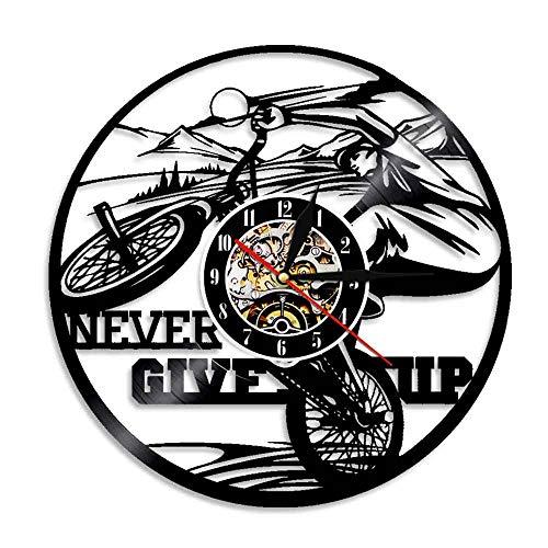 Gtllje Reloj Art Deco de Pared con Silueta de Motociclista de Bicicleta, Reloj de Vinilo de diseño Moderno, Reloj de Regalo Artesanal Hecho a Mano para Deportes, 30x30cm