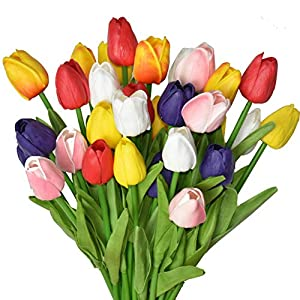 Silk Flower Arrangements WISTART 24pcs Multicolor Artificial Tulips Flowers Fake Faux PU Tulip Bouquet Real Touch Flower Arrangement for Home Room Office Party Wedding Decoration Excellent Gift Idea for Mothers Day