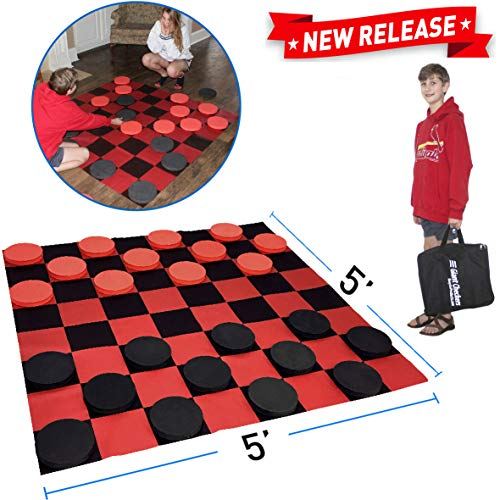 EasyGoProducts Giant Checkers Game – Indoor Outdoor – Family Game – Lawn Game - 5' X 5'