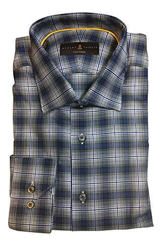 Robert Talbott Navy Plaid Dress Shirt Size L Tailored