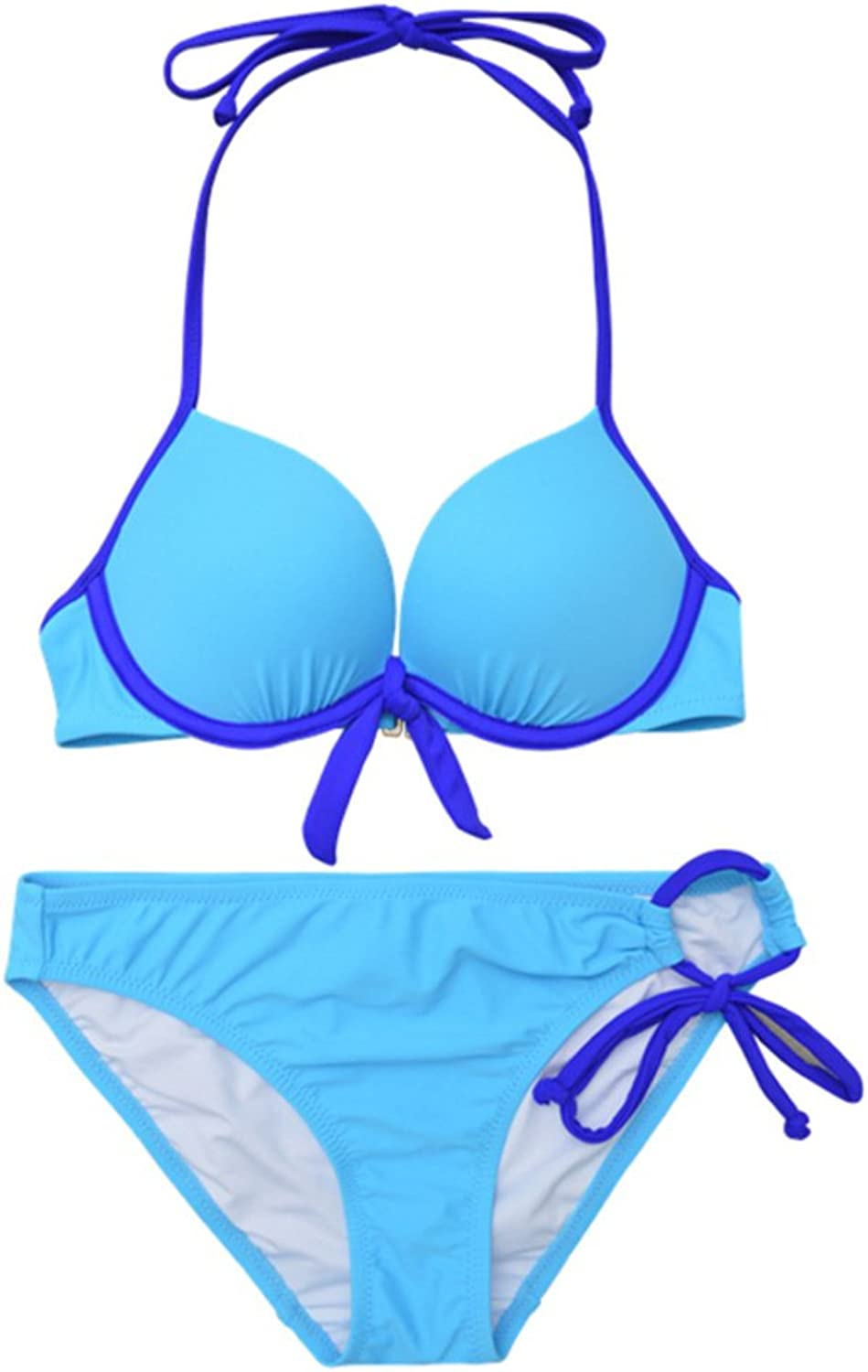 Europe and The United States bluee Steel Support Small Chest Gathered Split Triangle Sexy Hot Spring Beach Swimsuit Female Simple Bikini (Size   L)