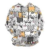 Moda impresión 3D lindo patrón de gato dibujado a mano unisex suéter fresco sudaderas con bolsillo canguro para hombres y mujeres