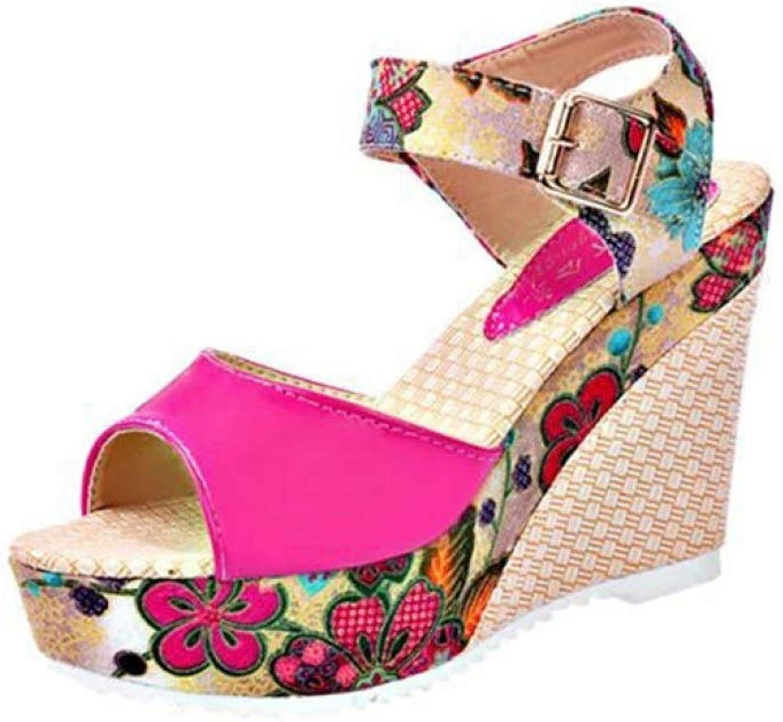 Women's Peep Toe Wedge Platform High Heel Sandals Anti Slip Buckle Slope Summer Beach Casual shoes