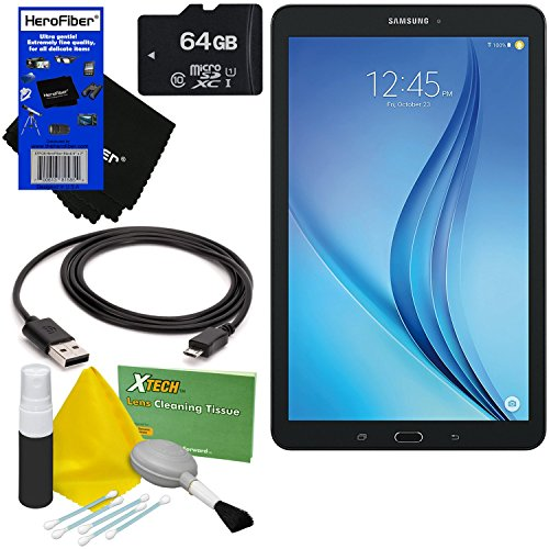 Samsung Galaxy Tab E 9.6' 16GB Wi-Fi Android Tablet (Black) SM-T560NZKUXAR + 64GB MicroSD High Capacity Memory Card + USB Cable + 5pc Deluxe Cleaning Kit + HeroFiber Ultra Gentle Cleaning Cloth