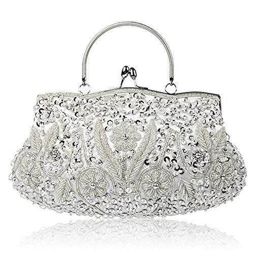 yaunli Bolso de cena para mujer, lentejuelas, con cuentas, de noche, para bodas, bolsas de regalo (color: plata, tamaño: 30 x 4 x 26 cm)