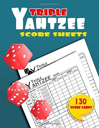 Triple Yahtzee Score Sheets: 130 Large Score pads for Scorekeeping | Triple Yahtzee score book | Triple Yatzee Score Cards