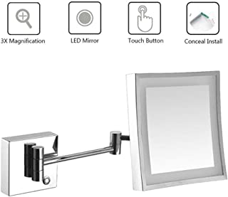 Makeup Mirror, Bathroom Shaving Mirror Wall Mounted, LED Illuminated with 3X Magnifying Touch Screen Extendable Square Vanity Mirror Concealed Install