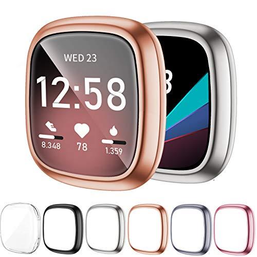 OMEE 6 Pezzi Pellicola Protettiva compatibile con Fitbit Sense/Versa 3, TPU morbido placcato con copertura Cover Accessori per Smartwatch Fitbit Sense e Versa 3