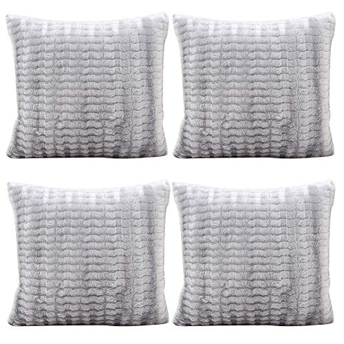 JOTOM Soft Solid Color Cushion Covers Waist Pillow Throw Case Square Pillow Cover for Car Seat Home Sofa Decor 43x43cm,Set of 4(Plush|Grey 1)