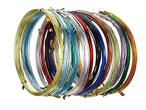 UTRUGAN 12 Rotoli di Filo di Alluminio Multicolore Filo Metallici per Creazione Gioielli DIY 0.8 mm Filo Metallico Flessibile per Braccialetti Collane Orecchini Bigiotteria Fai-da-Te (5 Metri/Rotoli)
