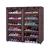 Portable Clothes Closet Shoe Stand 6-Row 2-Line 12 Lattices Shoe Storage Organizer Cabinet Tower with Non-Woven Fabric Cover(Delivery time: 3 to 12 days)