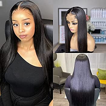 JZYQYH Long Black Wig Lace Front Straight Hair Glueless Natural Hairline with Baby Hair Synthetic Lace Front Wig for Black Women 24inch  Black