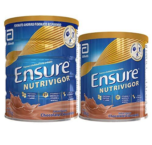 Ensure Pack de 2 NutriVigor Complemento Alimenticio con Proteínas, Vitaminas y Minerales, Sabor Chocolate - 850 gr + 400 gr