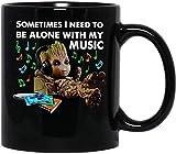 #groot Ascolto di musica A volte ho bisogno di stare da solo con la mia musica Tazza da caffè divertente per donne e uomini Tazze da tè Tazza con manico, Tazza da caffè riutilizzabile in ceramica isol