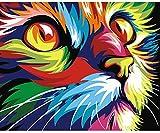 Kit de lienzo Gato para Pintura por Números, pinturas y pinceles para adultos/senior/iniciacion a pintura método antiestres o regalo de 40 x 50 cm. resultados perfectos de CHIPYHOME