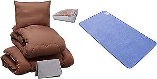 【寝具セット】 アイリスプラザ 布団セット ダブル 4点セット ブラウン 洗える + アイリスプラザ 除湿シート(防ダニ加工/AG消臭機能付) 敷きパッド ダブル