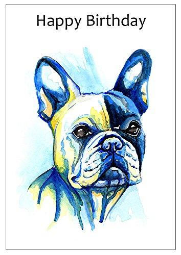 Geburtstagskarte mit Motiv einer Französischen Bulldogge
