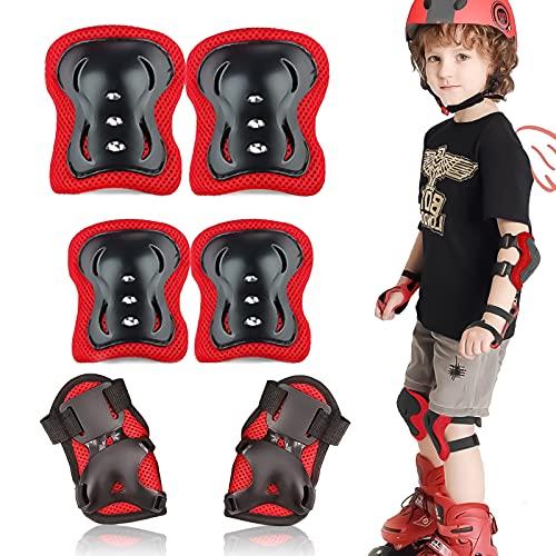Protecciones Patines Niña, 6 en 1 Conjuntos Protección Deportes Niño, Protecciones Rodillas Bici, Protecciones Niños Conjuntos para Skate Bicicleta Monopatín Patinetas Ciclismo