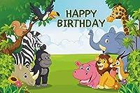 Qinunipoto 3m*2.5mお誕生日おめでとう動物園写真撮影のための写真の小道具