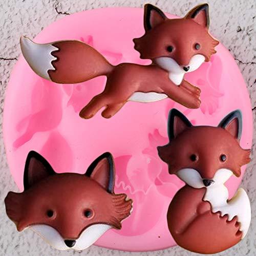 XUZHUO Niedliche Fuchs Kopf Silikonform DIY Tierkuchen Kuchen Harz Ton Süßigkeiten Schokoladenform