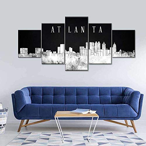 45Tdfc Foto Canvas Cuadro del Atlanta Acuarela Horizonte |Fotografía Panorámica Impresa en Lienzo|Cuadros Panorámicos Listos para Colgar|Decoración 5 Piezas Tamaño 150x80cm