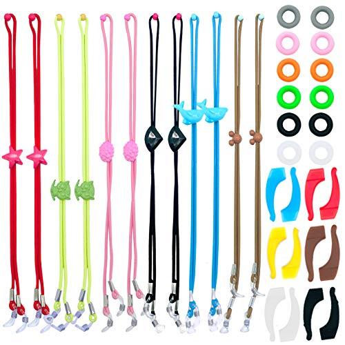 Pack de 12 cordones para gafas infantiles con 12 pares de anillas y ganchos de silicona ajustables y antideslizantes para las orejas. Para gafas de sol, gafas deportivas, etc., y para niños y niñas