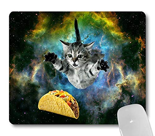 Wknoon Cute Kitten Mouse Pad Funny Design, Curious Cat Flying Through Space Reaching for a Taco in Galaxy Space Hilarious Mouse Pads