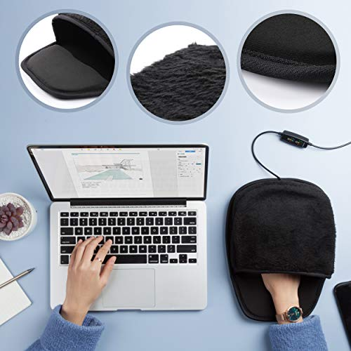 Heated Computer Mouse Pad Hand Warmer: USB Hand Warmers for Computer | Removable Heating Element | 3 Temperatures/Time Limits | Roomy, Hand-Warming Mouse Pad for Men and Women