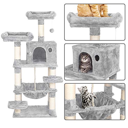 YAHEETECH 57.5 inches Multi-Level Cat Tree Tower Condo with Scratching Posts, Cat Stand House Furniture Activity Tower for Kitten, Cat, Pet
