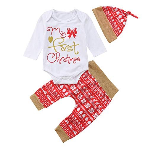 Geagodelia Babykleidung Set Weihnachten Baby Kleidung Unisex Langarm Body Strampler + Hose Kleinkinder Neugeborene Warme Babyset My First Christmas (0-3 Monate, Weiß & Rot 658)